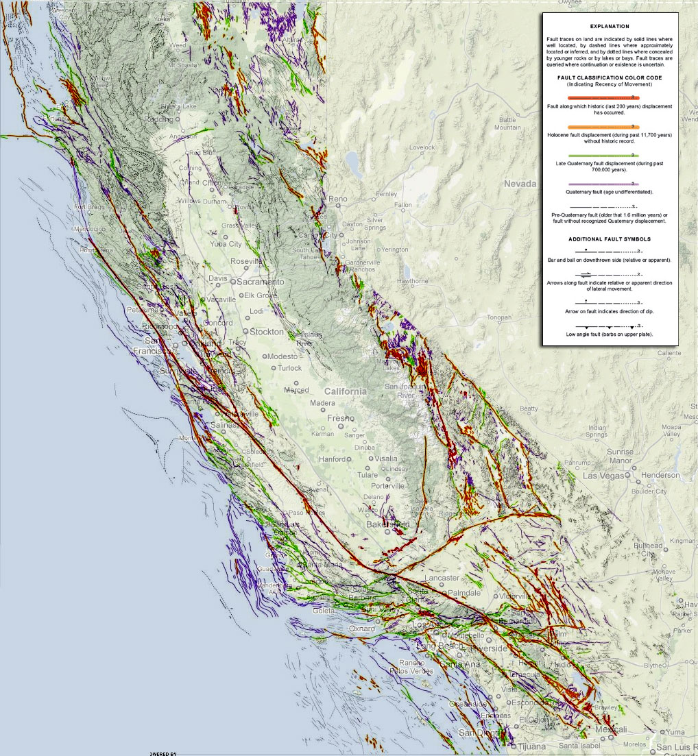 Map Shows New California Faults Social Network - Us fault line map